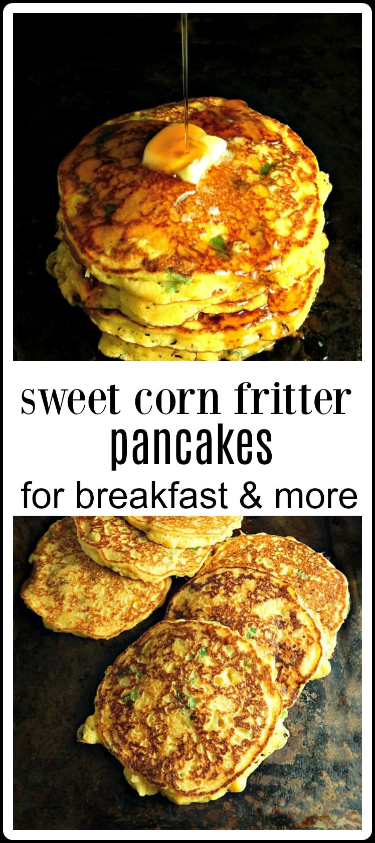 Corn Fritter pancakes straddle the line between sweet & savory. Great for breakfast, but even better used anywhere a biscuit could go - like with barbecue. Pile them high with your favorite Brisket, Pulled Pork or Pulled Chicken #CornPancakes #CornFritters #CornFritterPancakes