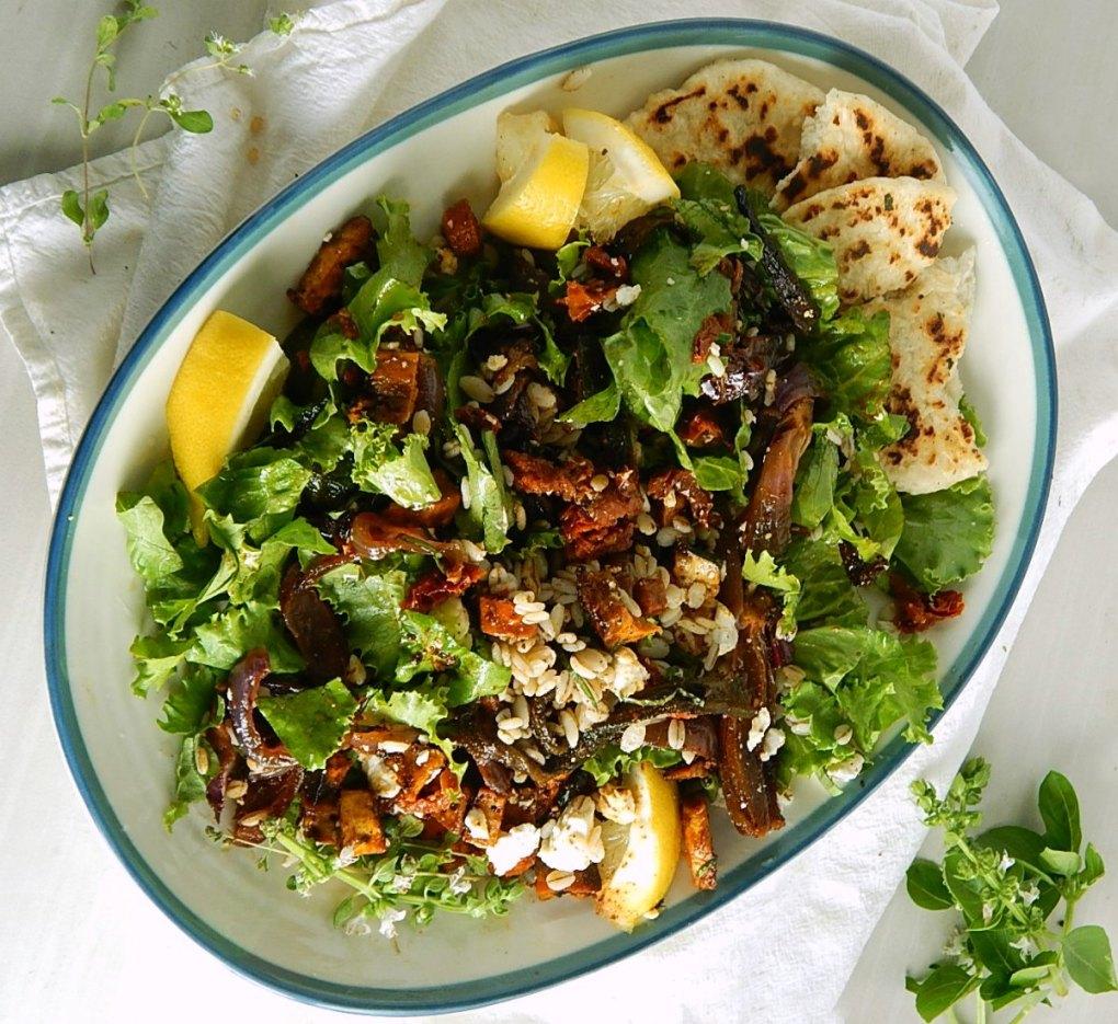 Salad with Smoky Sheet Tray Roasted Vegetables & Barley