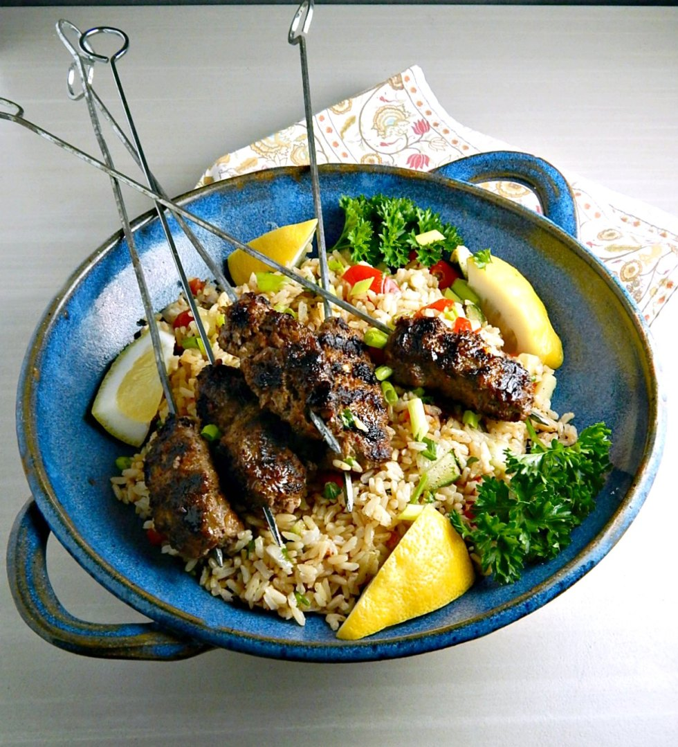 Spicy Beef & Feta Skewers with Greek Brown Rice Salad (made with Instant Pot Brown Rice)