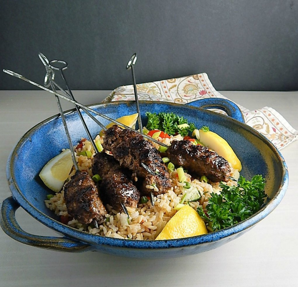 Spicy Beef & Feta Skewers with Greek Brown Rice Salad (made with Instant Po