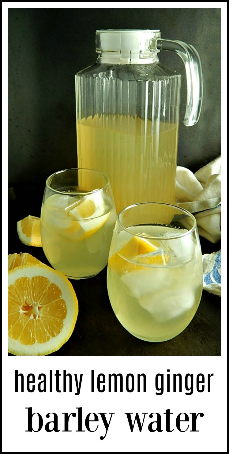 You're gonna love this beverage! Healthy Lemon Ginger Barley Water - so good, good for you and a perfect pick me up. Serve hot or cold. Super easy to make. Serve hot or cold. #BarleyWater #LemonBarleyWater #LemonGingerBarleyWater