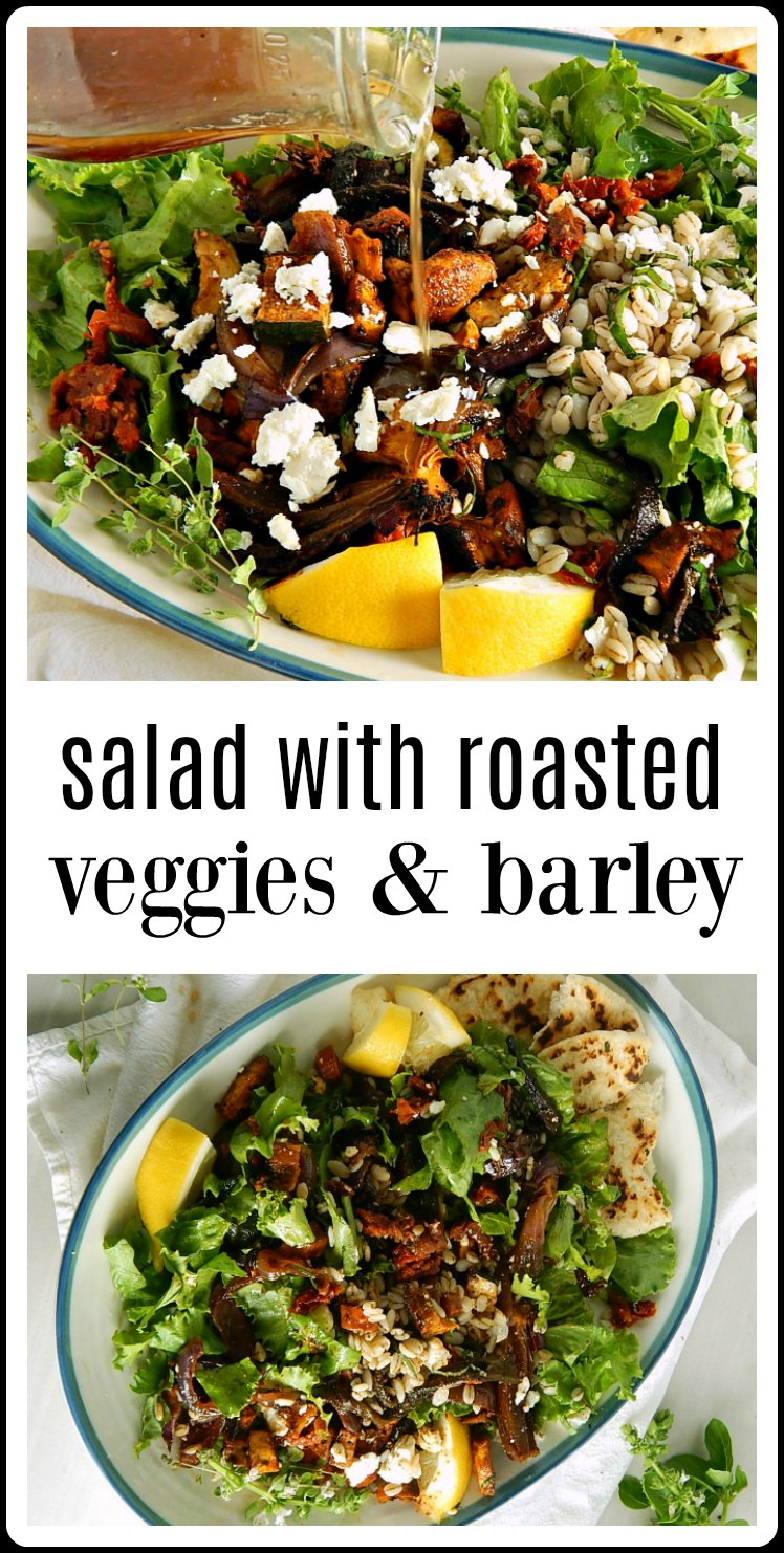 Salad with Smoky Sheet Tray Roasted Vegetables & Barley is a game-changer, folks! Mix or match components and use this as a guideline! #RoastedVeggieSalad #SaladwithRoastedVegetables #SaladwithBarley