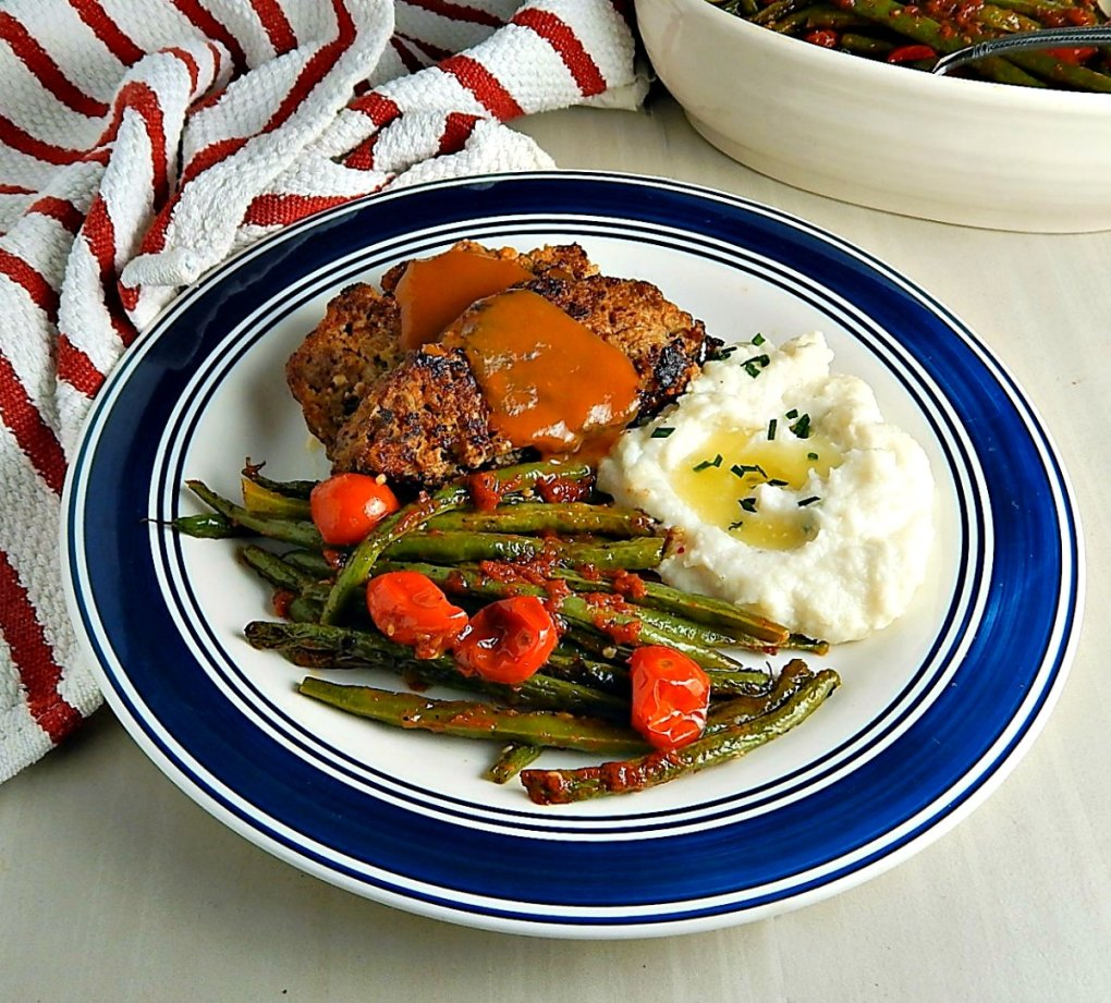 Nathalie Duprees Meatloaf, Instant Pot Cauliflower Mash & Oven Roasted Green Beans & Cherry Tomatoes
