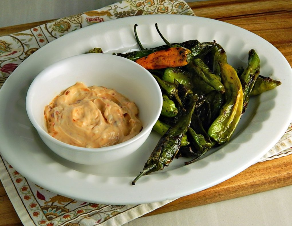 Shishito Peppers with Sriracha Mayo Dipping Sauce