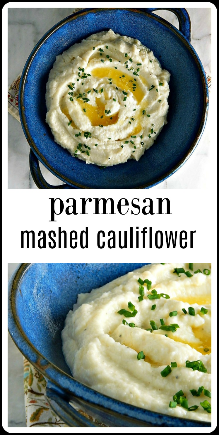 Parmesan Mashed Cauliflower can be a decent low carb alternative to Mashed Potatoes - if you know a few tricks to get it right! Steam or use the Instant Pot. #ParmesanMashedCauliflower #MashedCauliflower #InstantPotMashedCauliflower