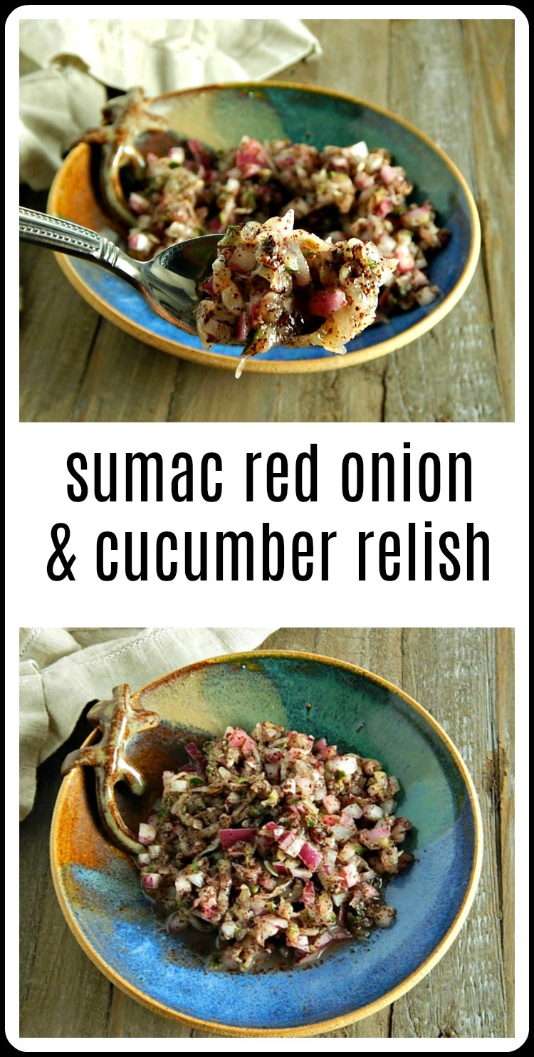 Sumac Red Onion & Cucumber Relish is the perfect, quick and easy relish to go with Chicken Shawarma or all your pitas and wraps! Great with any Middle Eastern Foods. Just like the Restaurants #SumacRedOnionRelish #SumacRedOnionCucumberRelish #RedOnionRelish