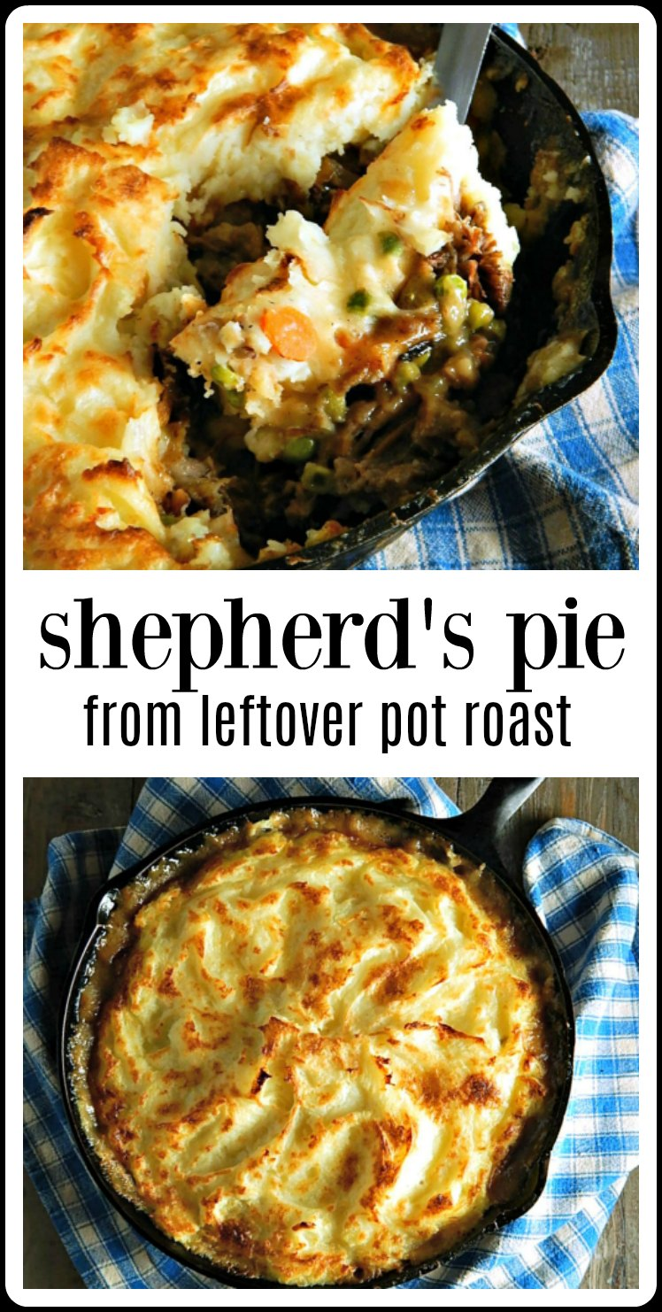 Shepherds Pie is good but Shepherds Pie from Leftover Pot Roast, with classic veggies, that gravy & beautiful browned mashed potatoes is great! This is such a great way to use any leftover Pot Roast #ShepherdsPie  
