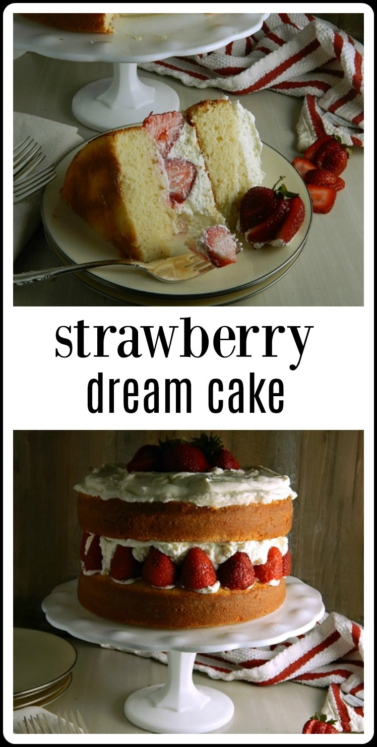 This Strawberry Dream Cake is a Dream! A dreamy, creamy cake that's a showstopper and easier than it looks - if you have good directions! Perfect for Spring, a Summer Birthday or Holiday or a Shower! #StrawberryDreamCake