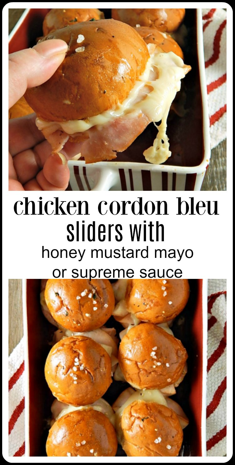 Easy Chicken Cordon Bleu Sliders are the ultimate comfort food and perfect for game day, a party or maybe just dinner and your favorite show. #CordonBleuSliders #ChickenCordonBleuSliders
