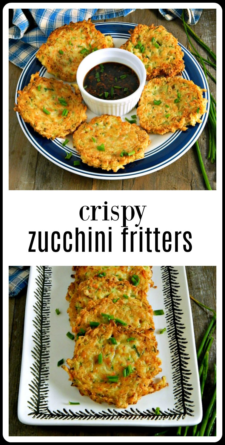 Crispy Zucchini Fritters are perfect as an appetizer, a starter or just as a meal on their own. Serve with an Asian Dipping Sauce. #CrispyZucchiniFritters #ZucchiniFritters