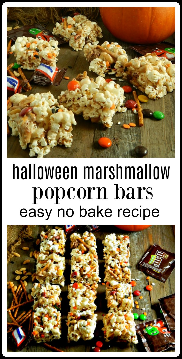 "Halloween Marshmallow Popcorn Bars are an easy no-bake treat that can be customized with all kinds of candy or favorite ""add-ins"" #PopCornMarshmallowBars #PopcornBars"
