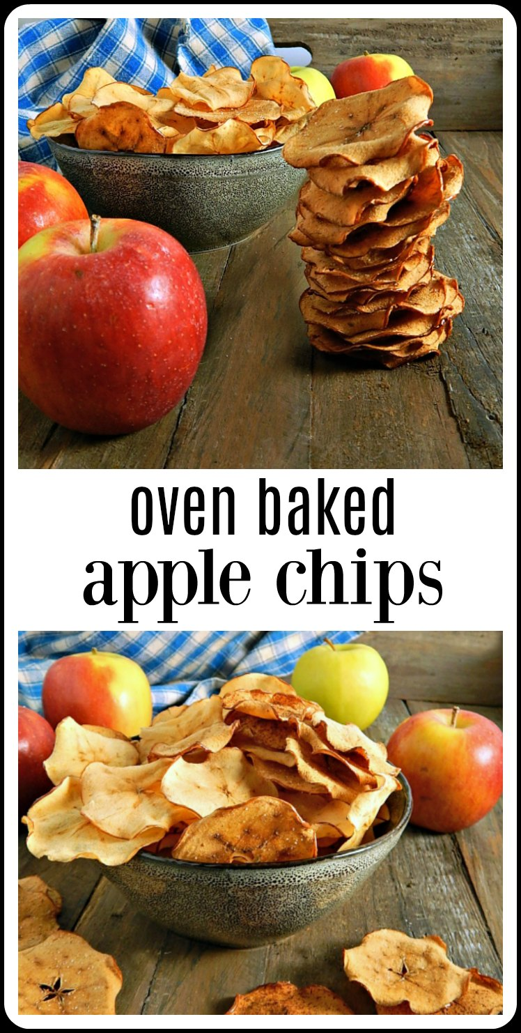 Oven Baked Apple Chips are crispy, crunchy sweet deliciousness, easy to make and perfect for a snack so good you won't even know it's healthy! #AppleChips #OvenAppleChips #HomemadeAppleChips