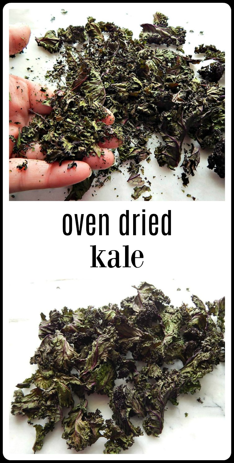 Too much kale? Make Oven-Dried Kale. Super easy to do, prevents waste, and dried kale is easy to store for sneaking into smoothies or recipes. #DriedKale #OvenDriedKale #Kale #PreservingKale
