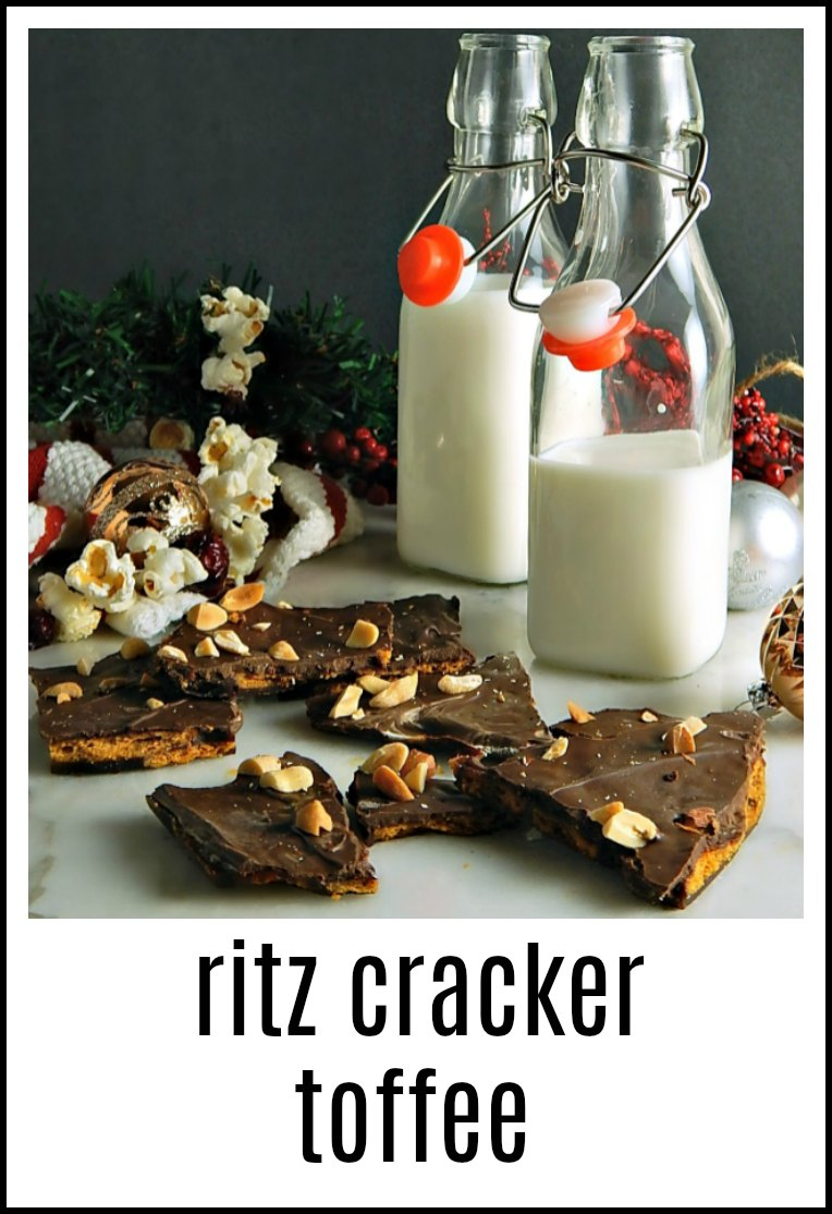 A fabulous treat, this Ritz Cracker Toffee is a blend of salty-sweet deliciousness! Easy to make and can be decorated for the season! #RitzCrackerToffee #CrackerToffee #ChridtmasTreats