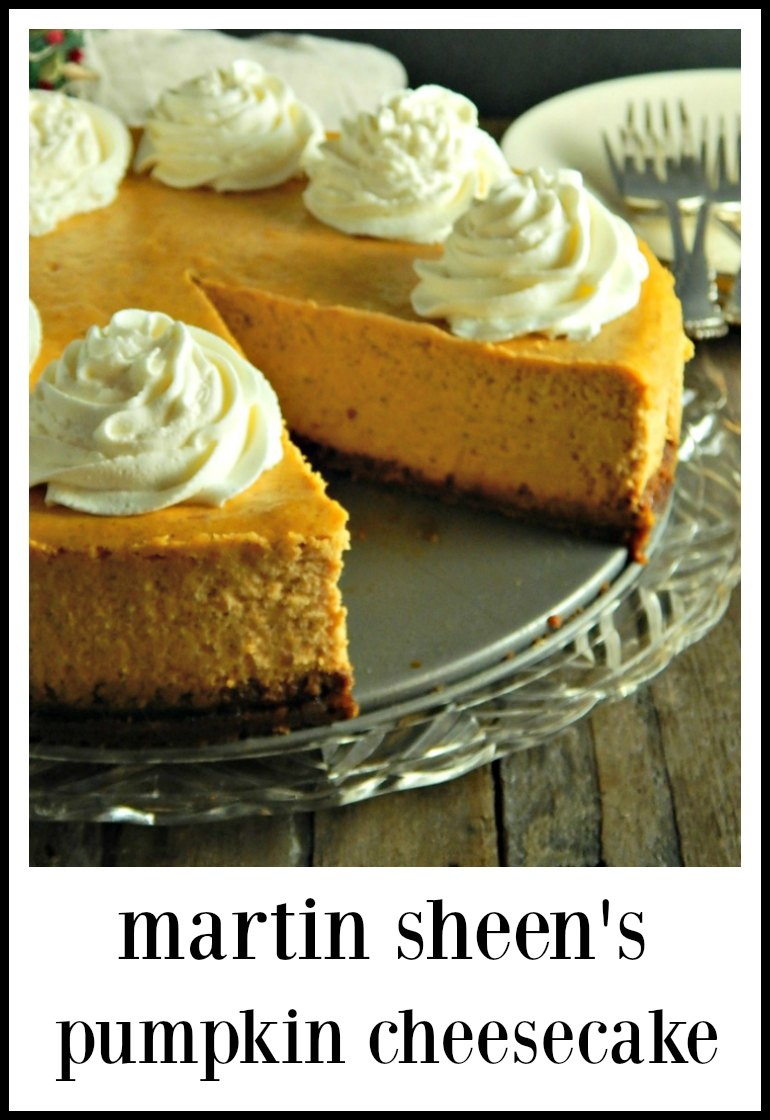 Martin Sheen's Pumpkin Cheesecake is spectacular. It's a high, firm, mellow cheesecake, gently spiced & it looks like the product of a fine bakery, Straightforward & easy to make and feeds 12 - 16. #MartinSheensPumpkinCheescake #PumpkinCheesecake
