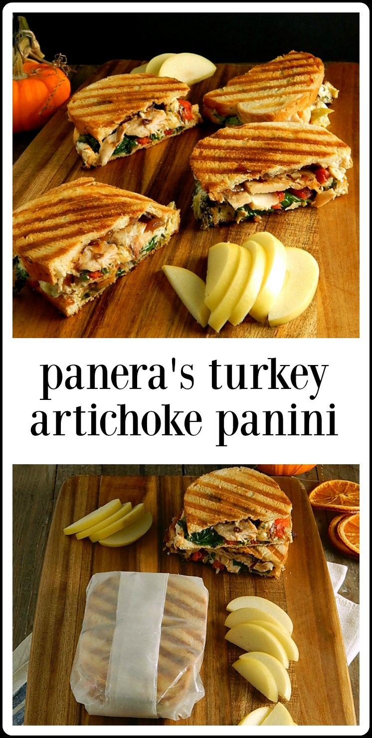 While the original Panera's Turkey Artichoke Panini might be gone, it's pretty easy to make at home - use a little Spinach Artichoke Dip. #PanerasTurkeyArtichokePanini #LeftoverTurkey #SpinachDip