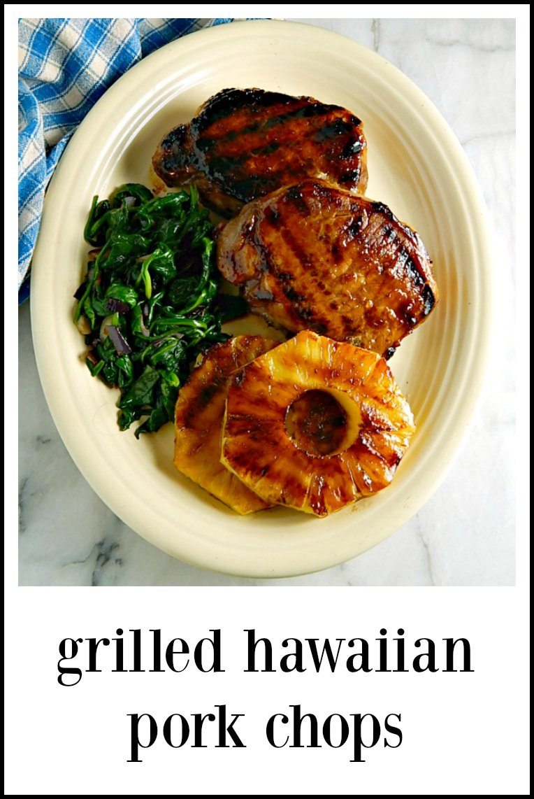 These super easy Grilled Hawaiian Pineapple Pork Chops have a crazy good sweet/sour glazed seared into the chops - the pineapple steals the show! #GrilledHawaiianPorkChops