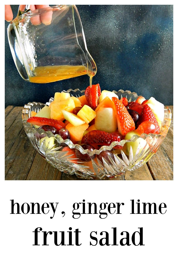 A classic fruit salad with a delicious blend of flavors, Honey Ginger Lime Fruit Salad is at home at a potluck, barbecue or a sit-down dinner. Drop dead simple to make! #FruitSalad #HoneyLimeGingerFruitSalad