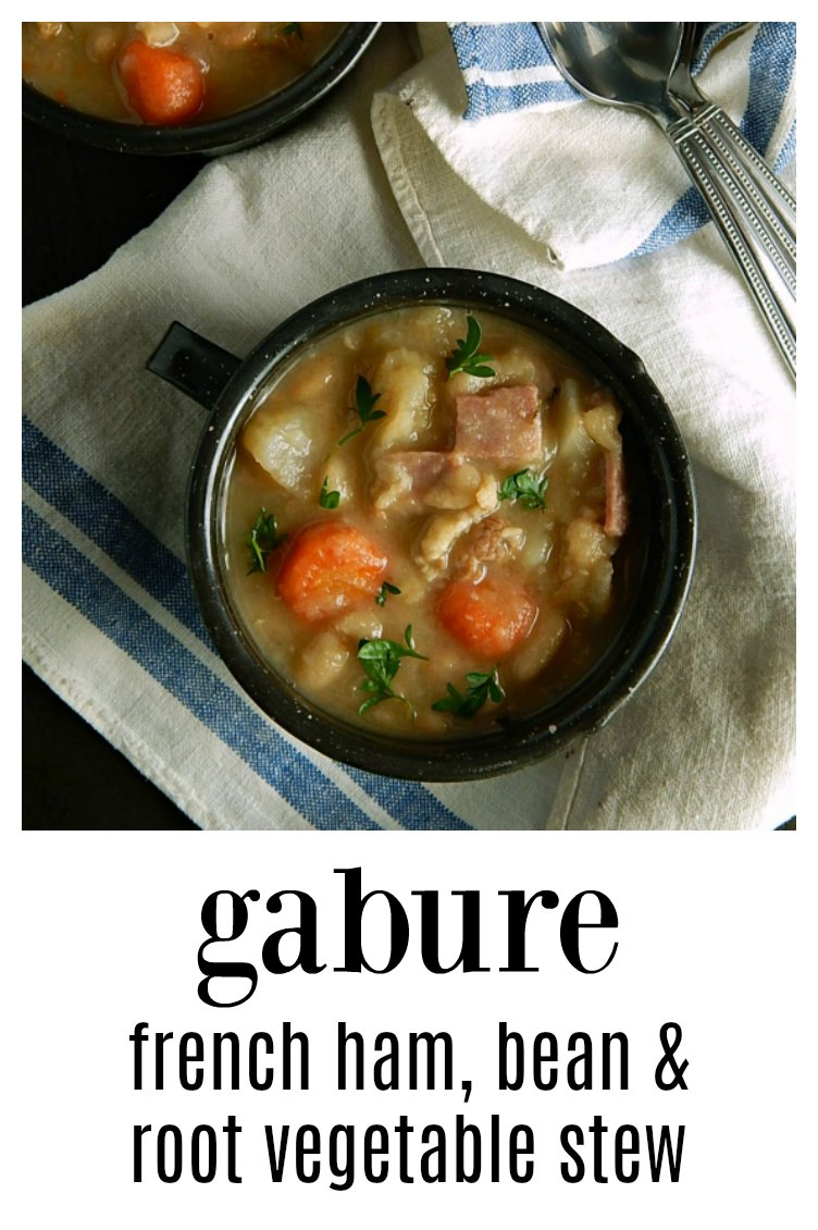 Gabure French Bean Stew is a great use for your holiday ham bone - slow-cooked comfort food, this is a melange of ham, beans, and vegetables! The name may be French but this is as downhome as it gets! #Gabure #FrenchBeanStew #FrenchBeanSoup #BeanSoup #Hambone Soup