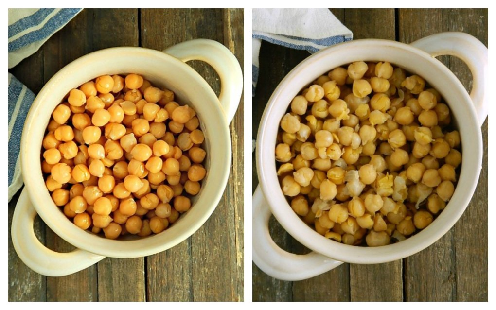 Instant Pot Chickpeas Comparison - Left is Brined Overnight, Right is Quick Soaked