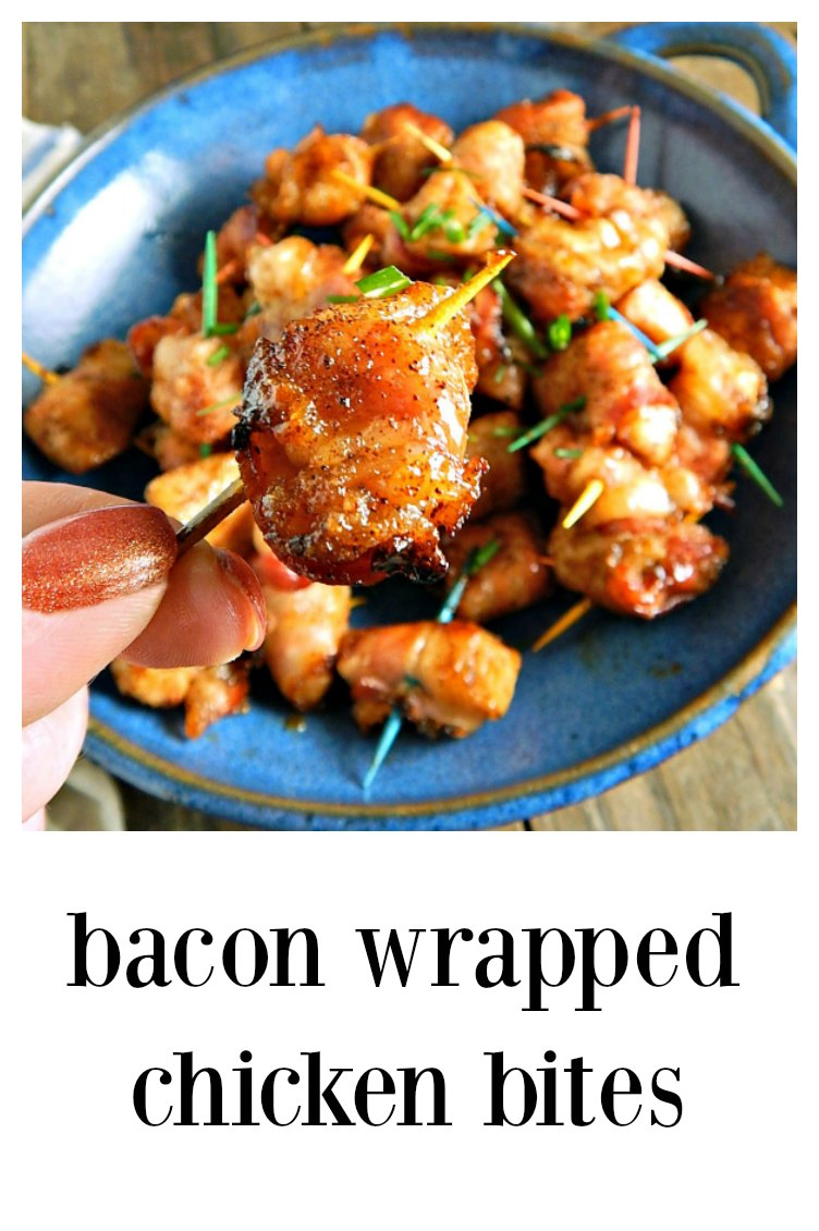 Bacon Wrapped Chicken Bites - so simple and so full of bacony brown sugar spicy deliciousness. Make extra because these will be devoured! Bring them somewhere and everyone will LOVE you!#BaconChickenBites #BaconWrappedChicken #Appetizer