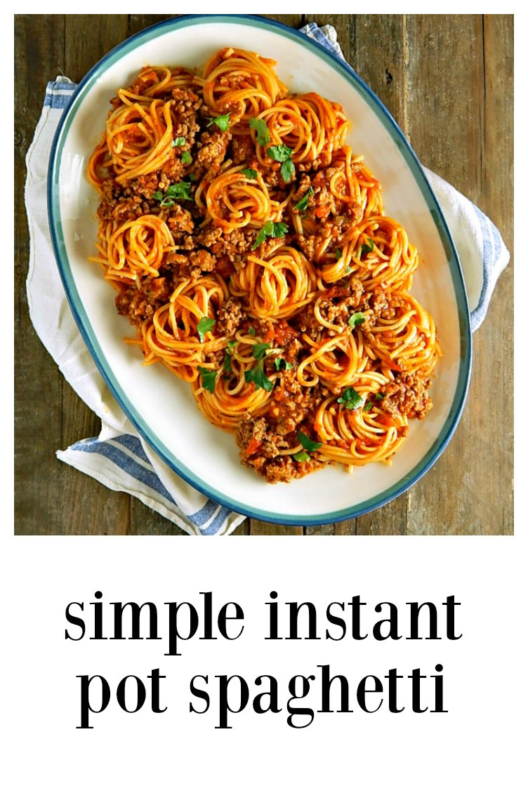 The Instant Pot is a game changer - this Simple Instant Pot Spaghetti tastes like it simmered all day! Fast, Easy, Perfect! #InstantPotSpahetti #SimpleInstantPotSpaghetti #InstantPotSpaghettiJarredSauce