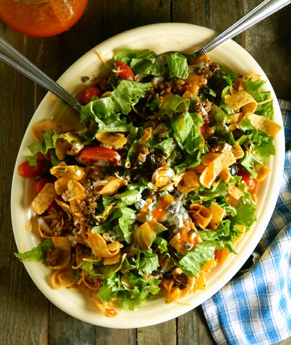 Frito Taco Salad with Home-made Catalina French Dressing