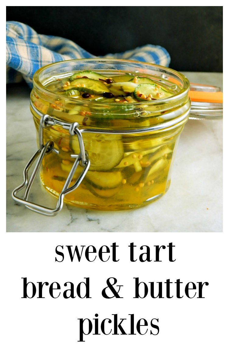 These super easy refrigerator Sweet Tart Bread & Butter Pickles aren't your average pickle - a little zippier; they're downright addictive! #BreadButterPickles #SweetTartPickles #RefrigeratorPickles #RefrigeratorBreadButterPickles