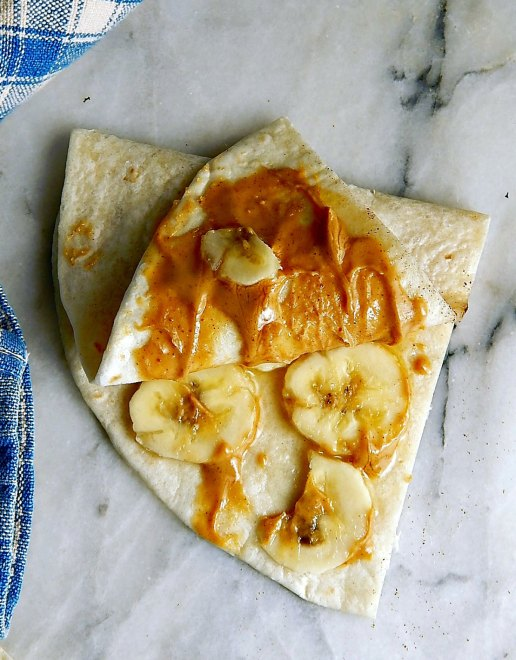 Nut Butter Banana Microwave Quesadillas