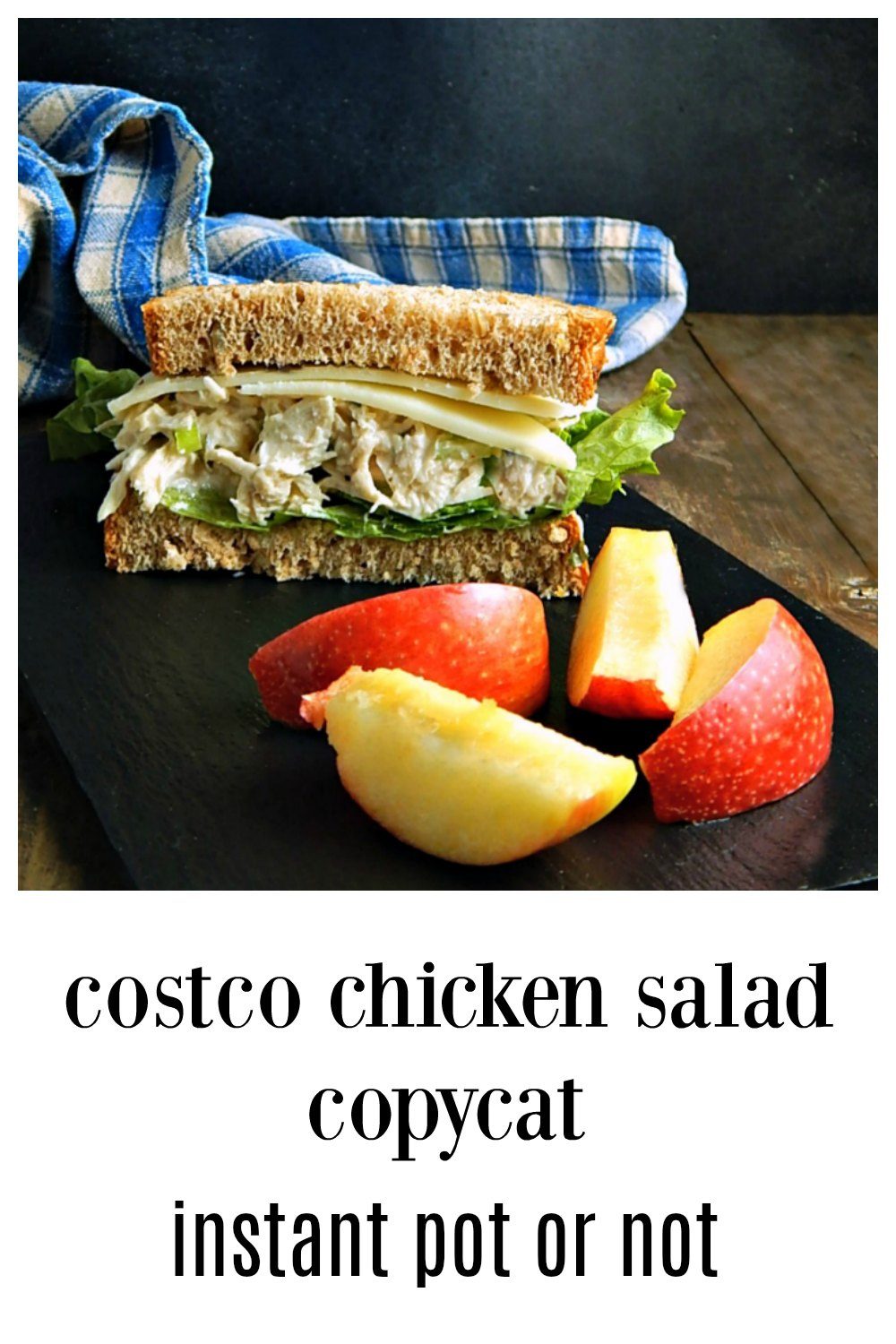I fell in love with Costco's Chicken Salad - but not the ingredients. Check out my easy Copycat Costco Chicken Salad made in the Instant Pot or Not! This is a fantastic, Old Fashioned Chicken Salad - and it's easy! It's a great recipe to use rotisserie chicken, leftover chicken or leftover turkey, too! #CostcoChickenSalad #CostcoChickenSaladInstantPot #ChickenSalad