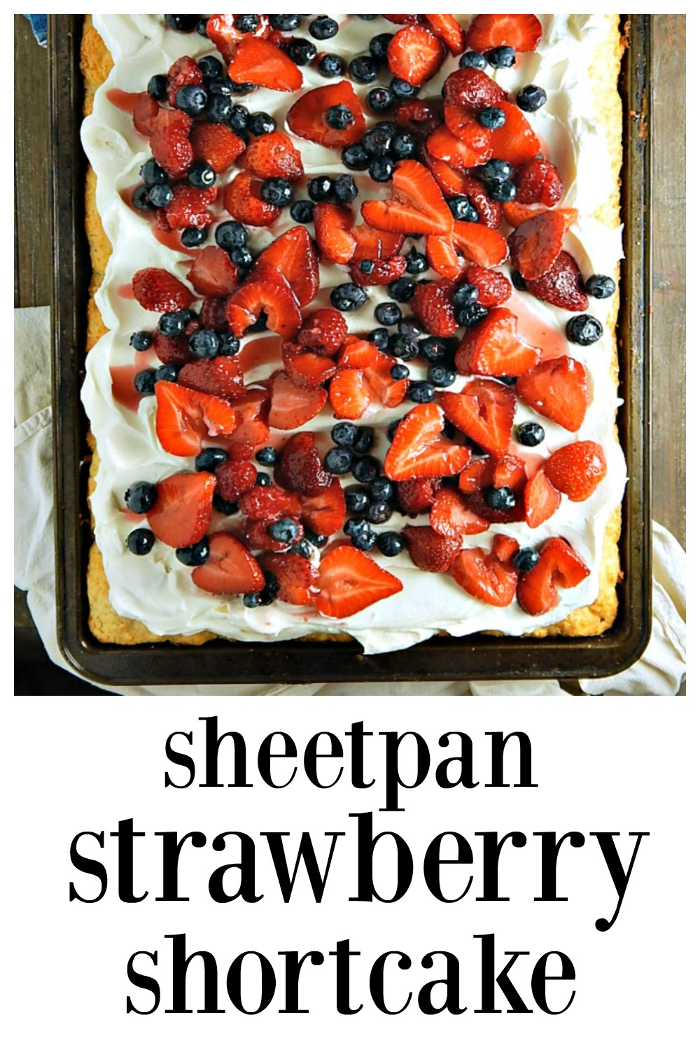 This is a Strawberry Shortcake for the Win! Sheetpan Strawberry Shortcake is great for a crowd. You'll be a hero at your next party, potluck or barbecue. Just don't tell anyone how easy it was! #SheetcakeDesserts #StrawberryShortcake #PotluckDesserts #SummerHolidays  #SheetcakeStrawberryShortcake