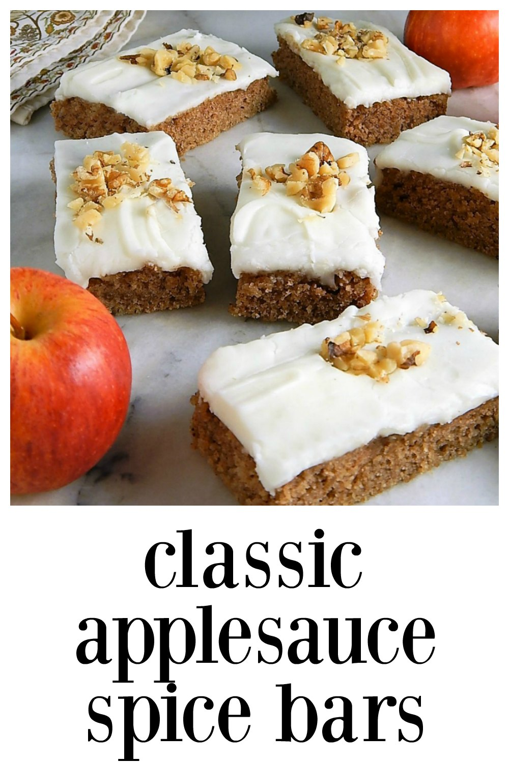 "These easy old fashioned Classic Applesauce Spice Bars are going to take you right back to ""home"" at first bite! Beautifully spiced, heavy & moist. #AppleSauceSpiceBars #AppleBars #ApplesauceBars"