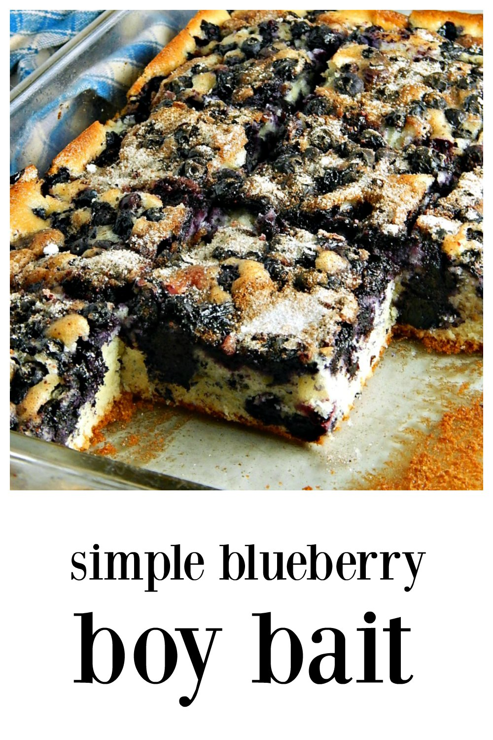 Simple Blueberry Boy Bait, named for it's attractiveness to the opposite sex, is a fun, easy, everyday coffee cake that anyone will love! #BlueberryBoyBait #CoffeeCake #BoyBait #BlueberryCoffeeCake