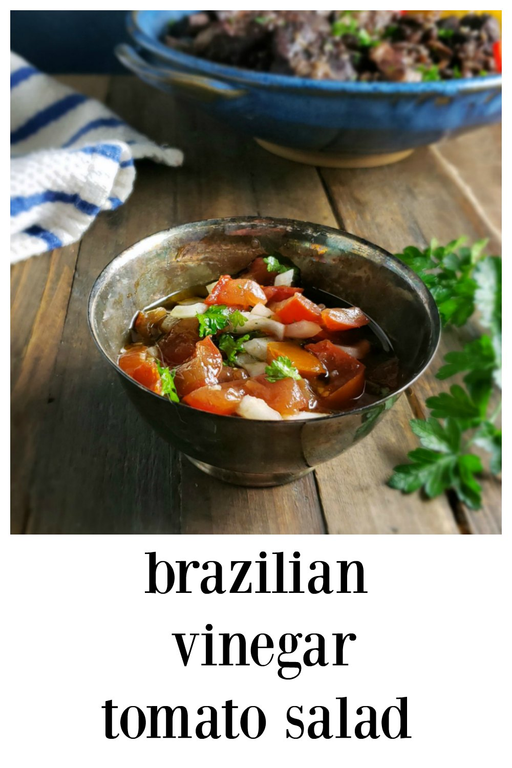 Brazilian Vinegar Tomato Salad goes with just about any Brazilian dish, but toss it out with just about anything to add some fresh veggies in your life! Minutes to make and gets better and better as it sits. #TomatoSalad #VinegarSalad #BrazilianTomatoSalad #BrazilianVinegarSalad #VinegarTomatoSalad #TraditionalBrazilian