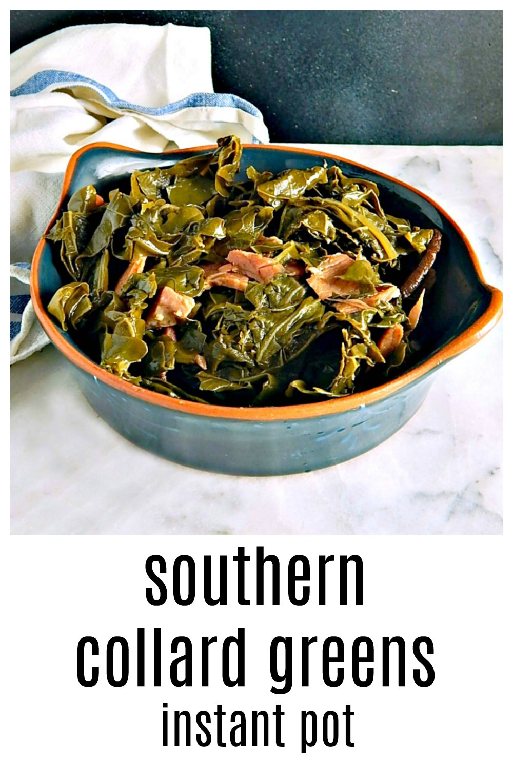 Instant Pot Southern Collard Greens take a fraction of the time (but still the same amount of love) to make! Grandma would be proud! If you use anything with a bone, give it a head start! Can be made with bones, with ham or just with broth if you'd like. #InstantPotCollards #SouthernCollards #OldFashionedCollards #CollardsTurkeyLeg #CollardsHamHock #InstantPotSouthernCollards #InstantPotGreens