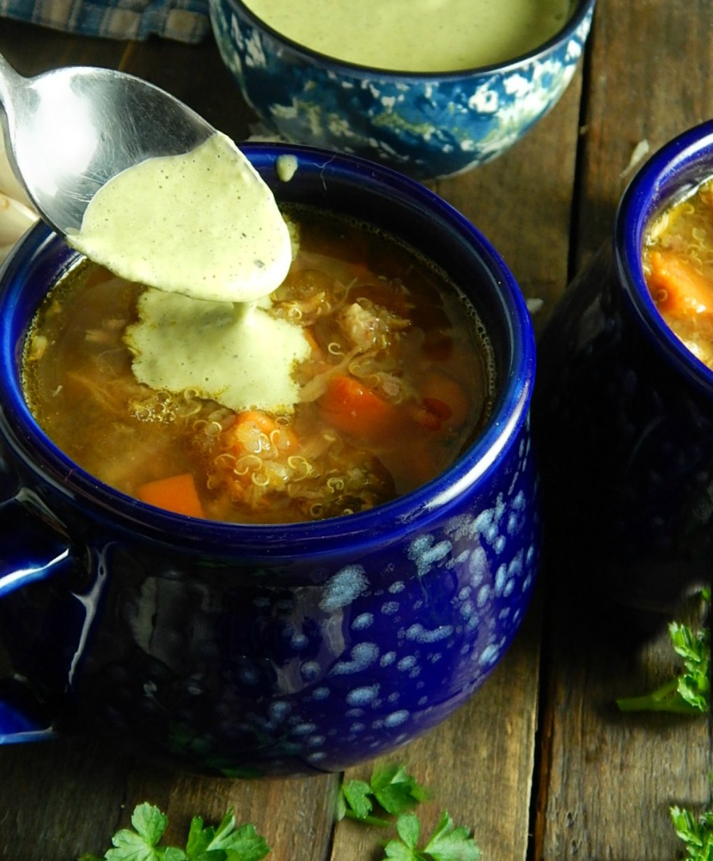 Peruvian Soup with Green Sauce