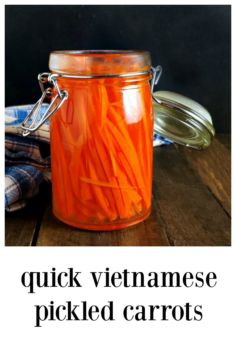 Quick Vietnamese Pickled Carrots - So fresh! Tangy and sweet and minutes to make! You'll love them on Bahn Mi or in spring rolls, wraps & bowls. #QuickPickledCarrots #QuickPickledVietnameseCarrots #Carrots #Vietnamese #Asian #AsianPickles