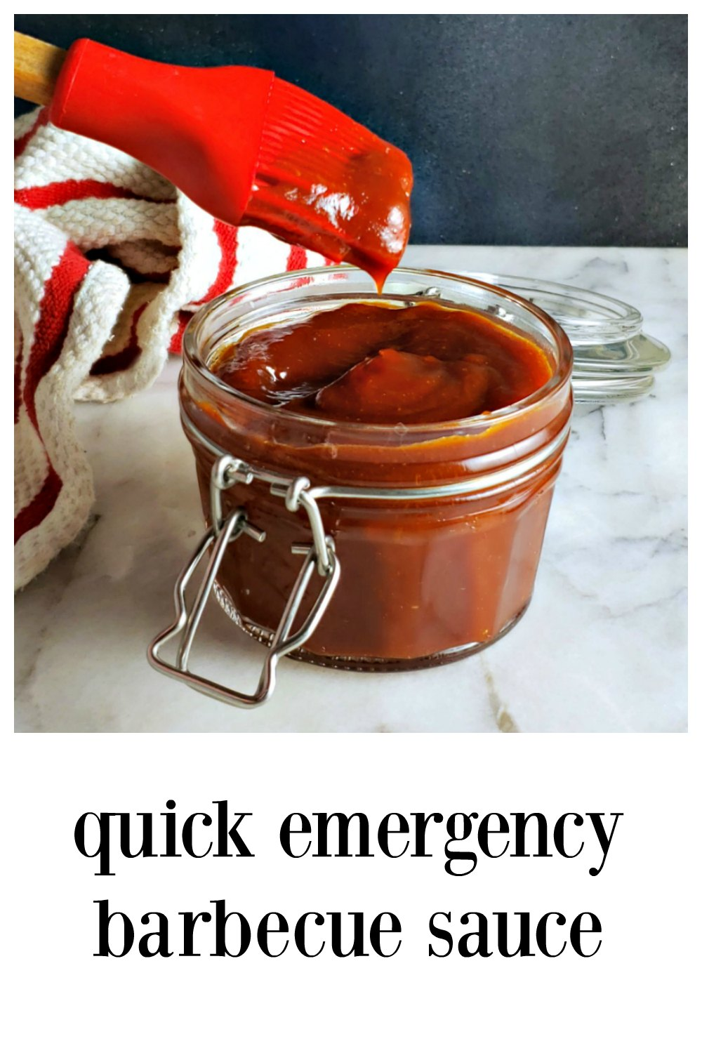 Quick Emergency Barbecue Sauce is easy & fast (with a lot of ingredient options), rich and tangy with just a touch of spicy-sweet. Under 10 minutes to make. #EmergencyBarbecueSauce #QuickBarbecueSauce #BarbecueSauceRecipe #BBQSauce #EmergencyBBQSauce #HomemadeBBQSauce