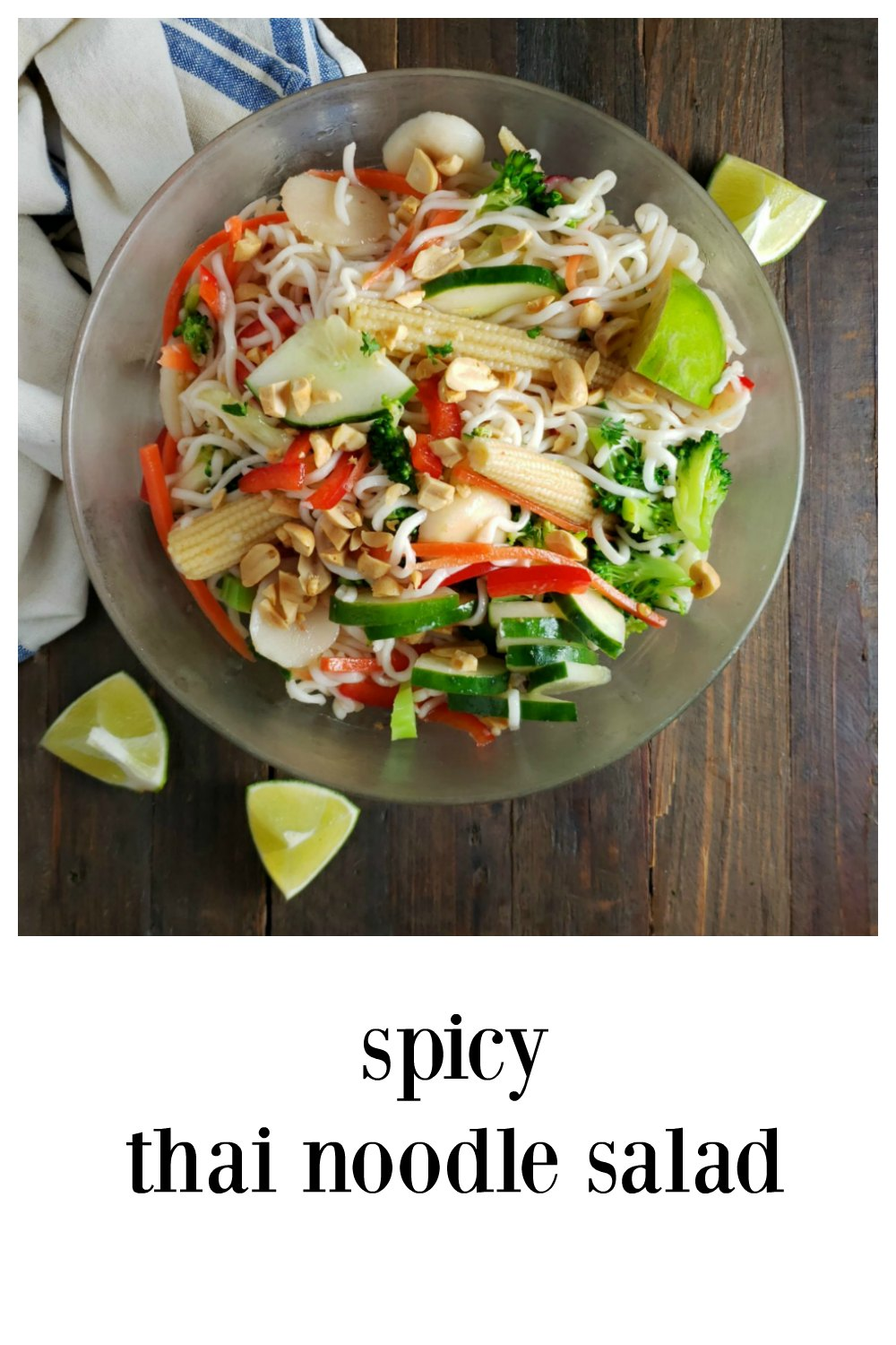 Spicy Thai Noodle Salad, cool and refreshing and loaded with big flavor and lots of veggies! Perfect for hot summer days! #ThaiNoodleSalad #ThaiNoodleSalad #ThaiSalad #SummerSalads