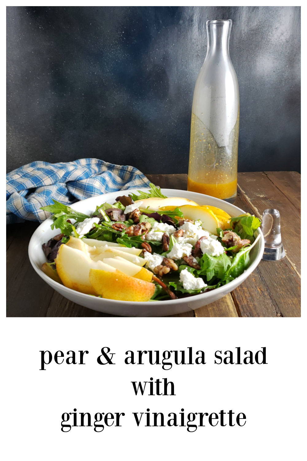 Arugula Pear Salad with Ginger Vinaigrette is gonna up your salad game. There goat cheese and some candied pecans but the dressing steal the show. #Arugula #Arugula&PearSalad #GingerVinaigrette #Salad