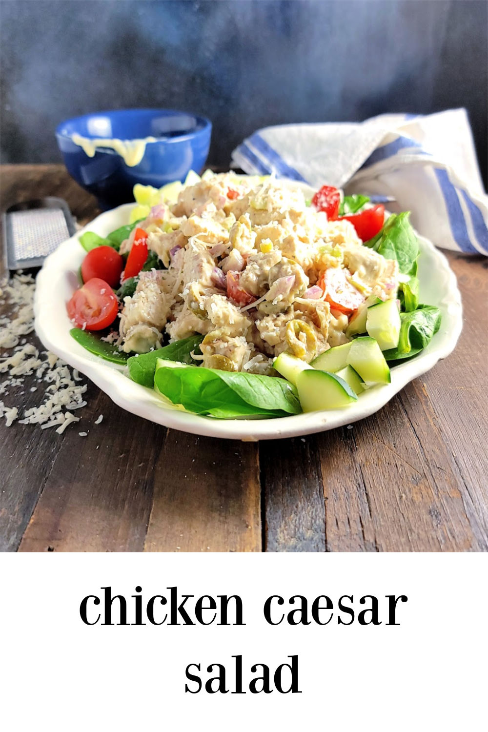 Caesar Chicken Salad - Cool & Creamy meets bright and tangy in this Caesar Chicken Salad. Serve as is, in a sandwich or wrap or with all your fave veggies. #ChickenCaesarSalad #ChickenSalad