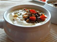Wild Rice & Smoked Turkey Chowder https://frugalhausfrau.com/2011/11/10/wild-rice-smoked-turkey-chowder/