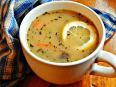 Elegant Mushroom Lemon Basil Soup https://frugalhausfrau.com/2012/04/18/elegant-wild-rice-soup/
