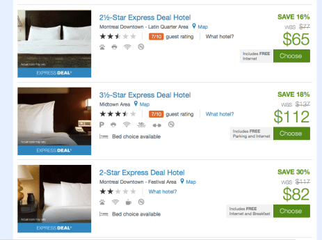 Montreal Express Deals - Bed Choice