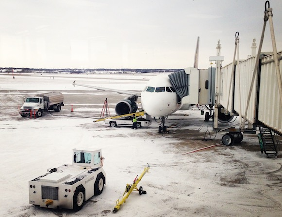 Frontier Airlines Flight in Winter Cold