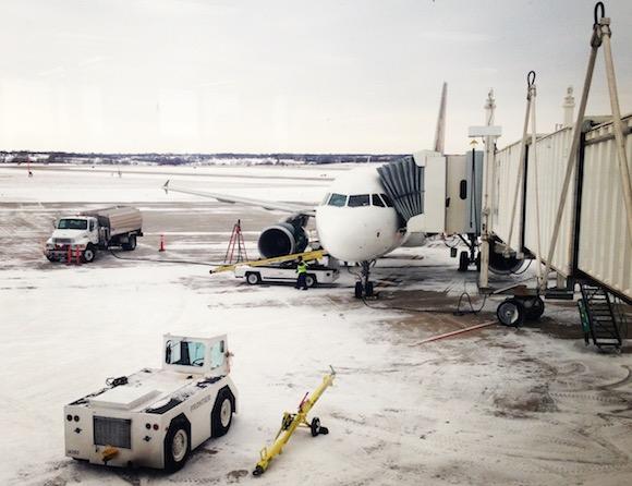 Frontier Airlines Flight in Winter Cold