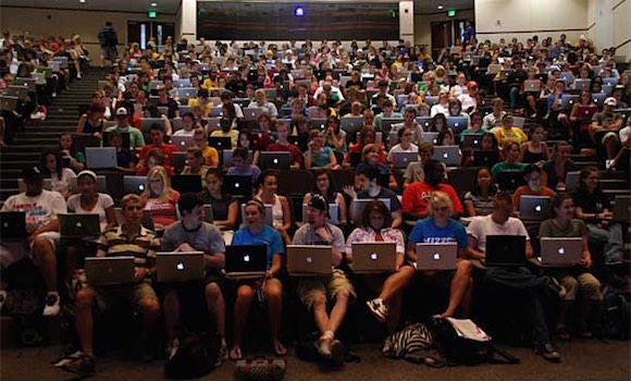 College Classroom Distracted With Macs