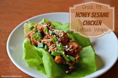 Slow Cooker Honey Sesame Chicken Lettuce Wraps by Domestic Superhero