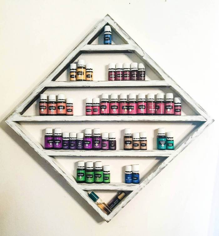 Organize and display your essential oils with this pretty Geometric Shelf from His and Hers Woodworking.