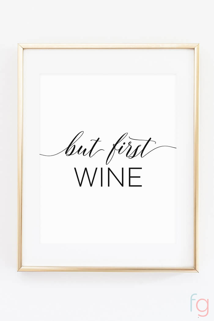 Free Printable Wall Art | Apartment Kitchen Decor Ideas | Free Printable Kitchen Art | Free Kitchen Printables Black and White | But First Wine | Kitchen Gallery Wall Printables